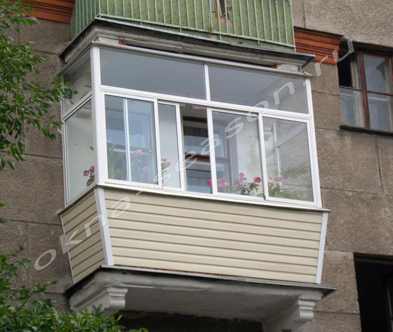 Остекление балконов алюминиевым профилем, фото